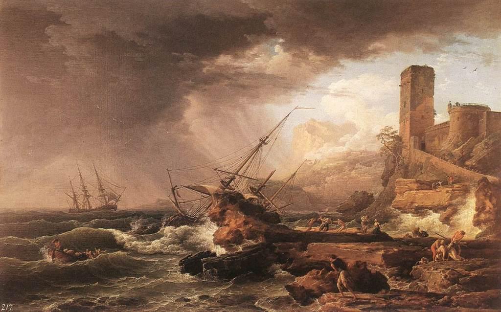 Claude-Joseph Vernet, A Storm with a Shipwreck (1754)